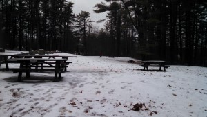 """Ft McClary - First Folf 2015 - A look down """"hole 6"""" where the object is to land your disc on the elevated platform of the gazebo playground equipment in the distance."""
