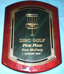 Fort McClary - First Folf - Sweet first place trophy plaque for the 2015 First Folf. Better trophy than 99% of the tourneys I pay to enter.