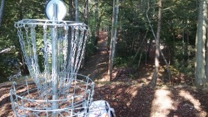 Hole 8 at Tyler State Park. C-pin position on a high bluff a long way from the tee not at all visible in the background.